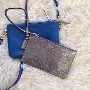 COACH silver glittered small wristlet